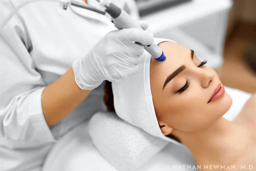 Patient undergoing a facial rejuvenation